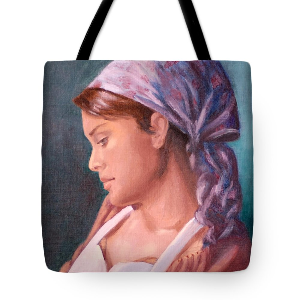 Maid Tote Bag featuring the painting Sarah The Kitchen Maid After Johnnie Liliedahl by Quwatha Valentine