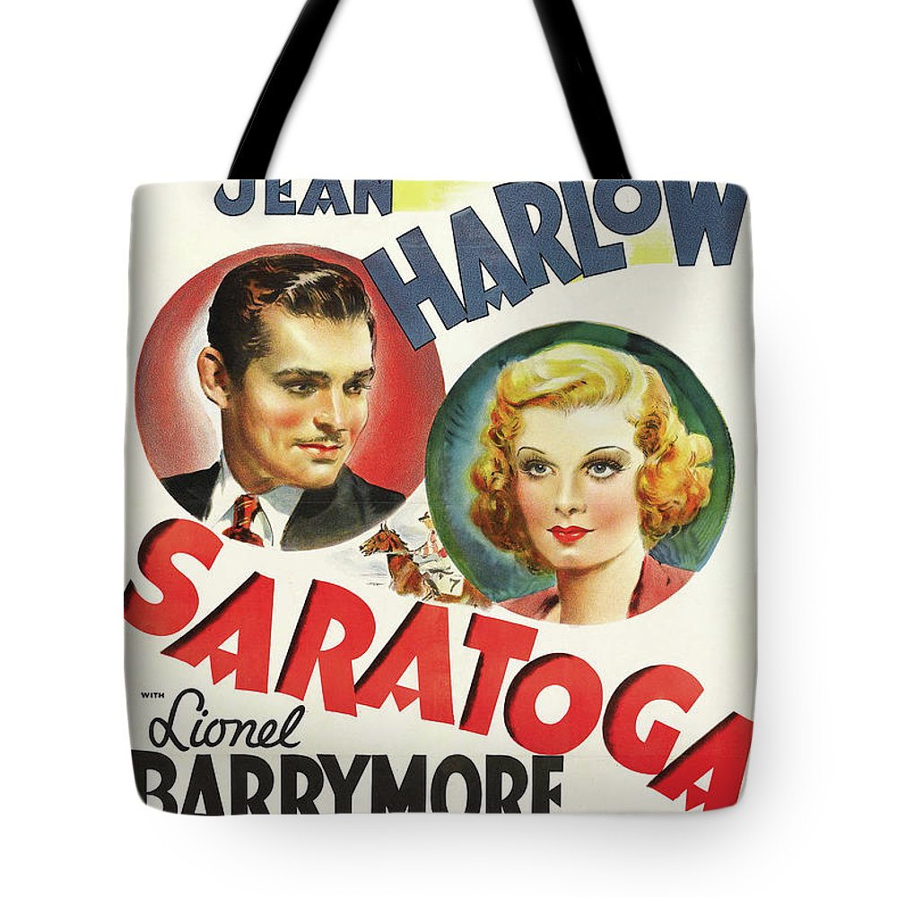 Movie Tote Bag featuring the mixed media Saratoga 1937 by Mountain Dreams