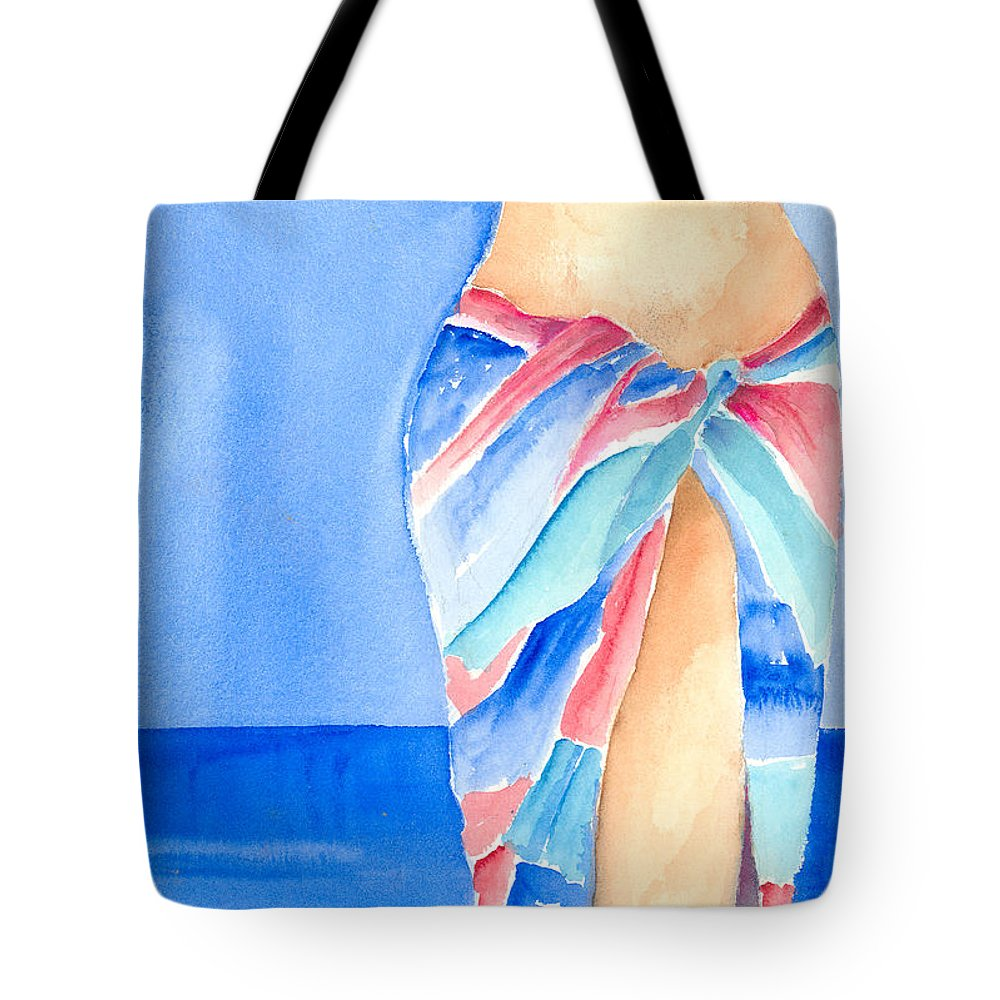 Sarong Tote Bag featuring the painting Sarong by Arline Wagner