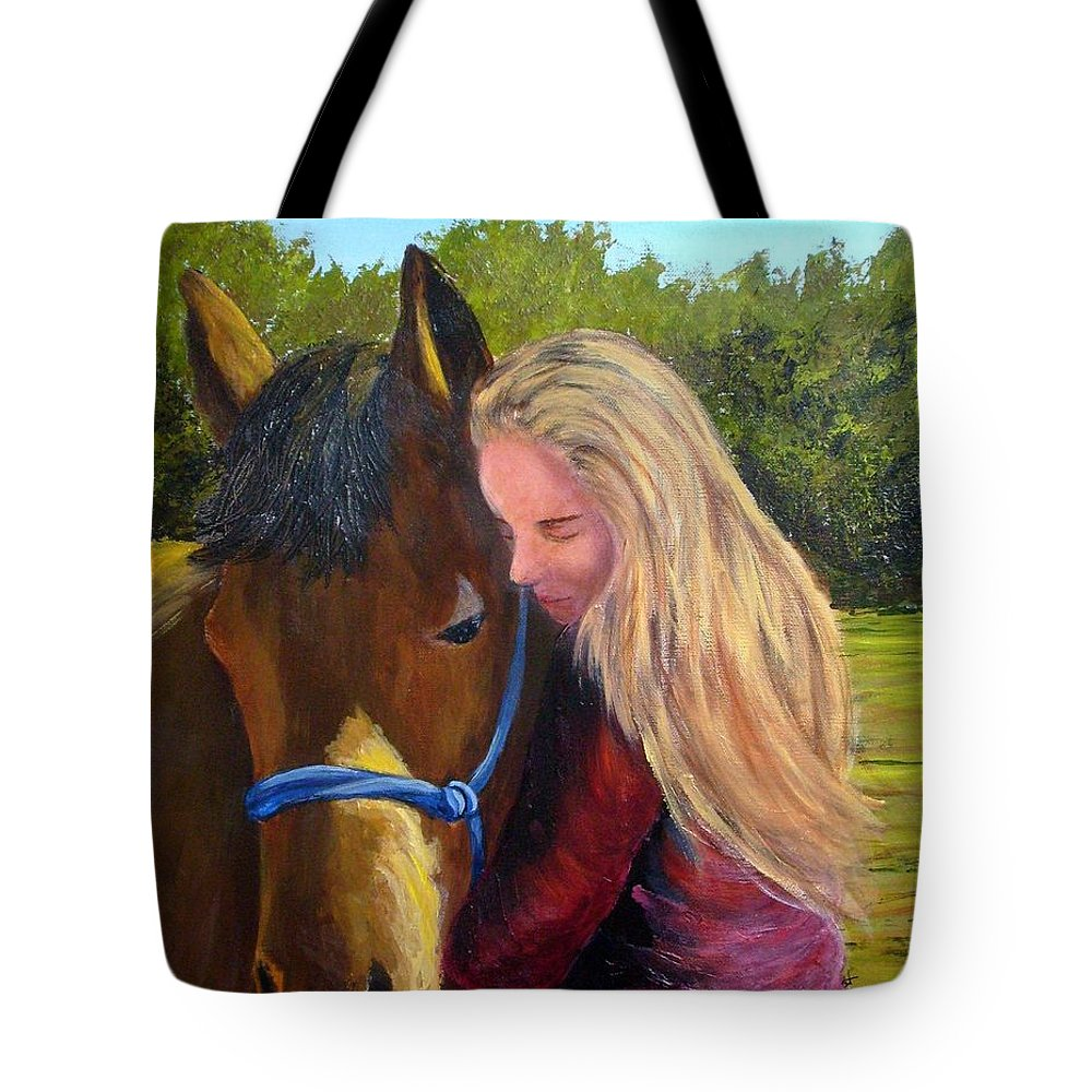 Tote Bag featuring the painting Sasha And Chelsea by Tami Booher