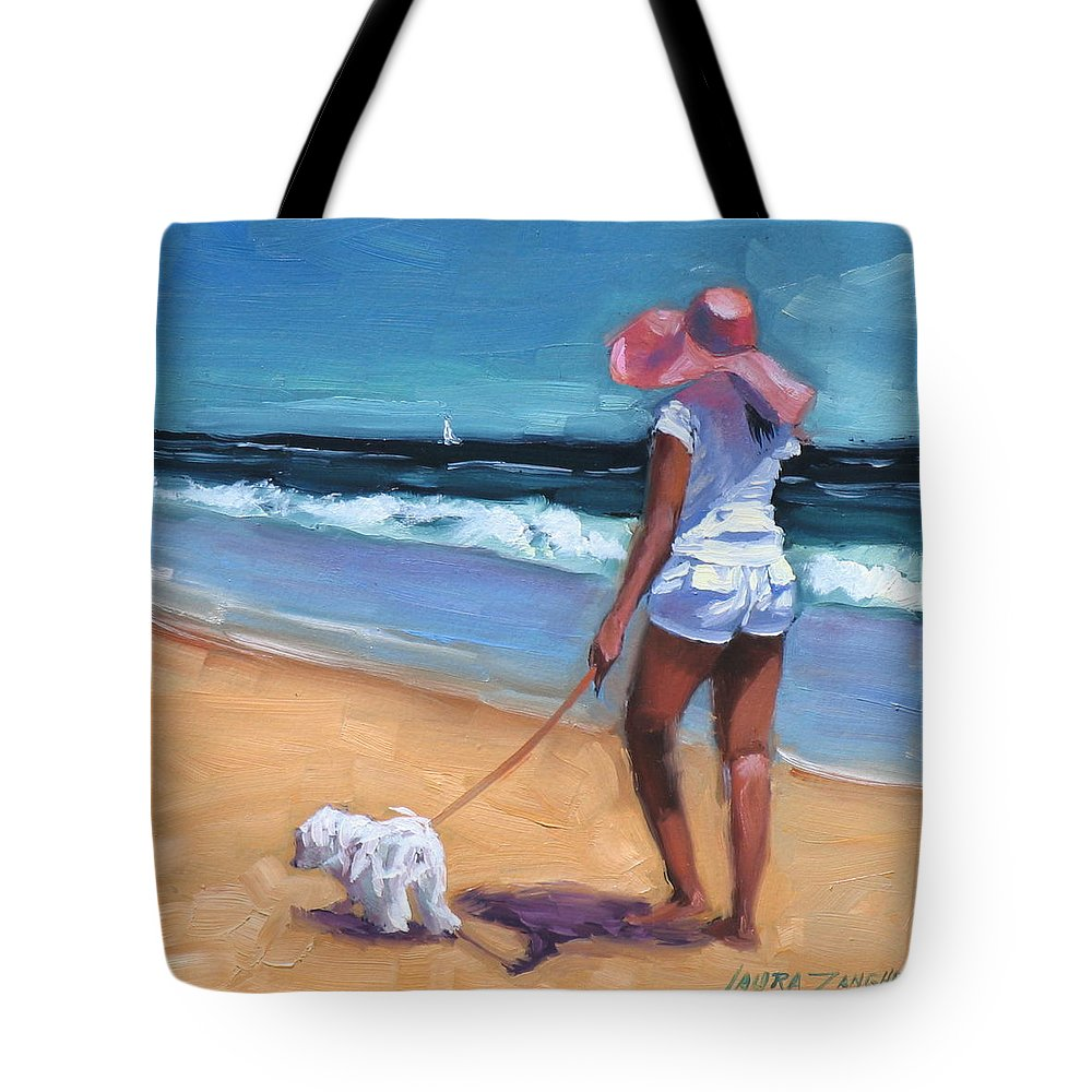 Seascape Tote Bag featuring the painting Sassy Jr by Laura Lee Zanghetti