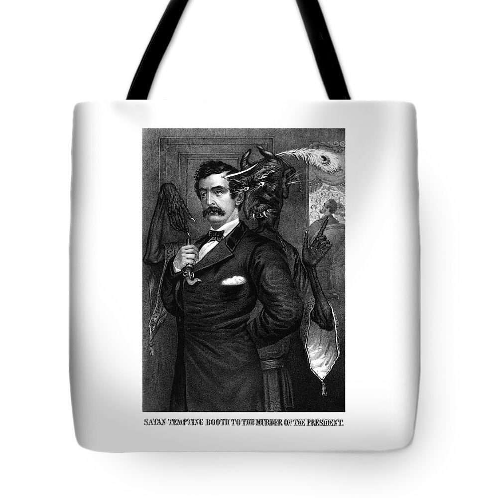 John Wilkes Booth Tote Bag featuring the drawing Satan Tempting John Wilkes Booth by War Is Hell Store