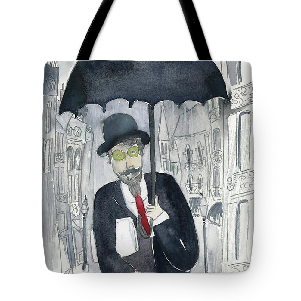Tote Bag featuring the painting Satie Walking In The Rain by Claud Brown