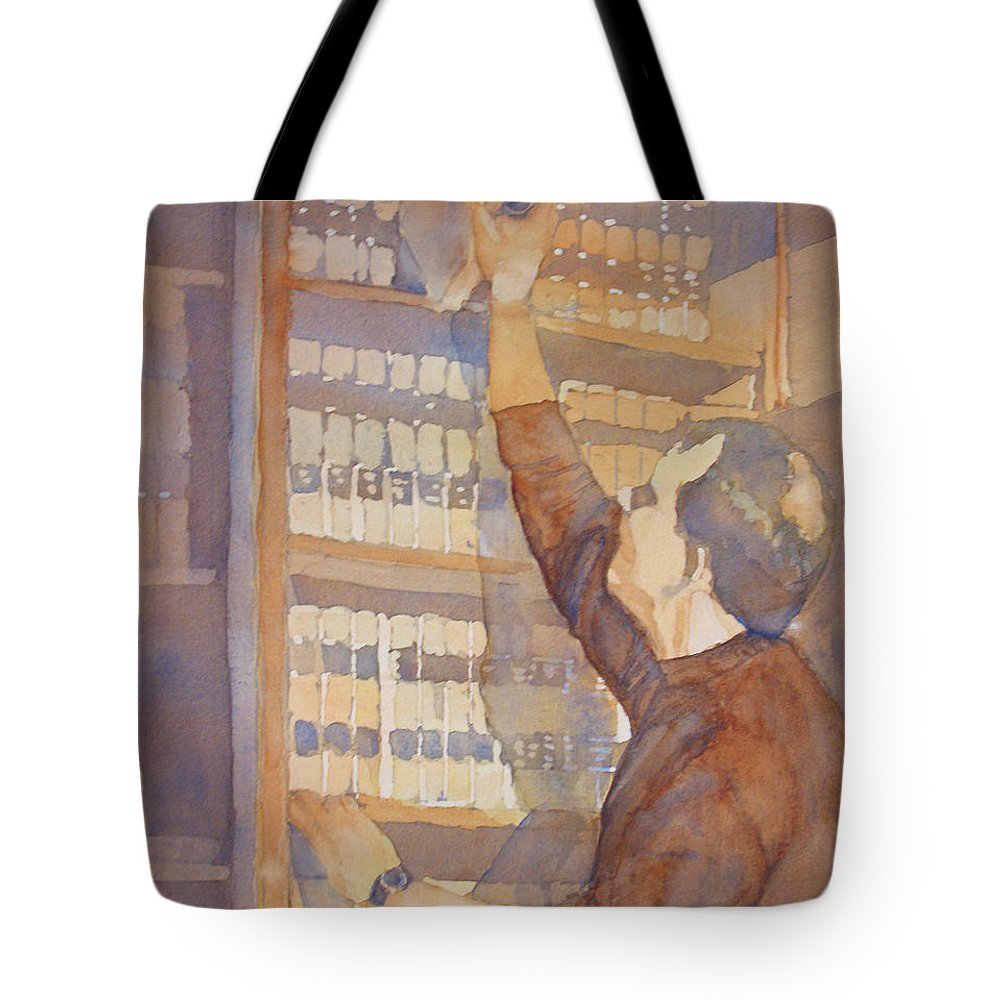 Law Tote Bag featuring the painting Saturday At The Office by Jenny Armitage