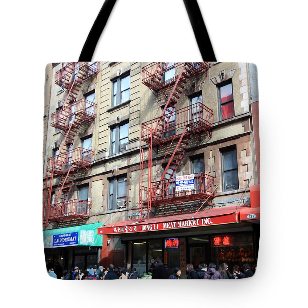 Storefronts Tote Bag featuring the photograph Saturday In Chinatown by Mary Haber