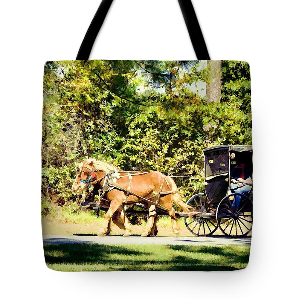 Animals Tote Bag featuring the photograph Saturday Morning Ride by Jan Amiss Photography