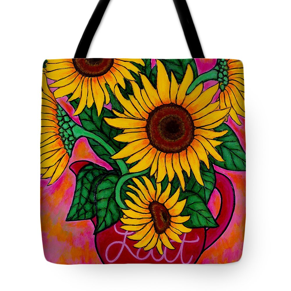 Sunflowers Tote Bag featuring the painting Saturday Morning Sunflowers by Lisa Lorenz
