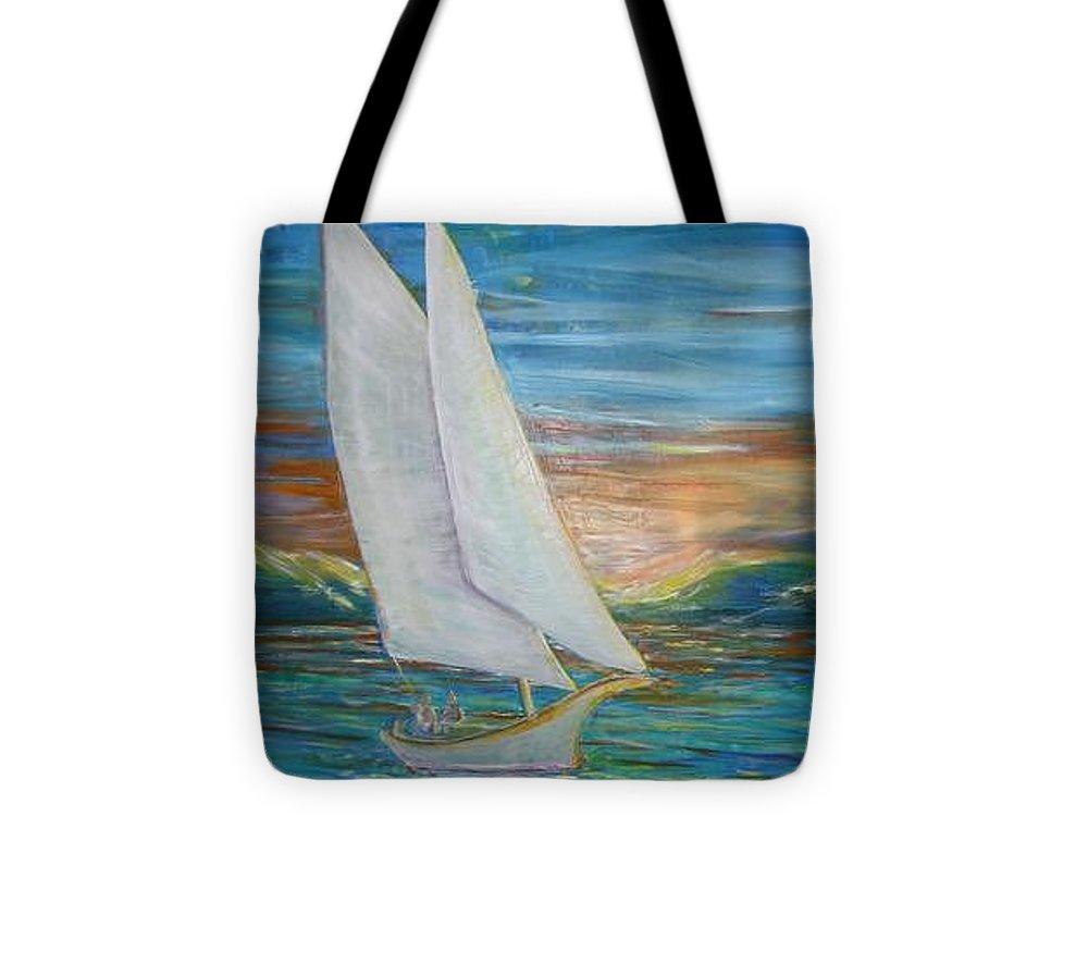 Sailboat Tote Bag featuring the painting Saturday Sail by Regina Walsh