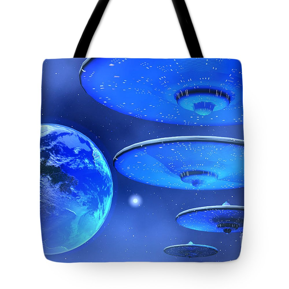 Space Art Tote Bag featuring the painting Saucers by Corey Ford