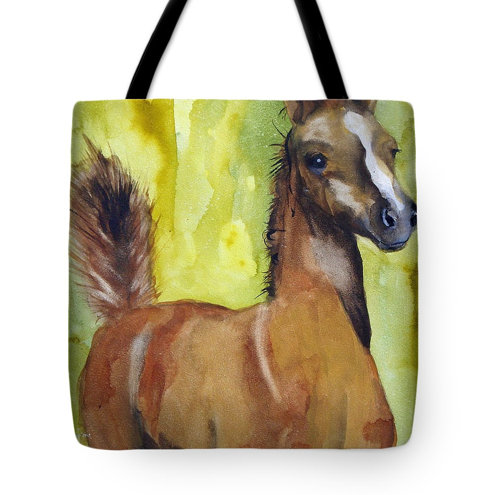 Filly Tote Bag featuring the painting Saucy by Jean Blackmer