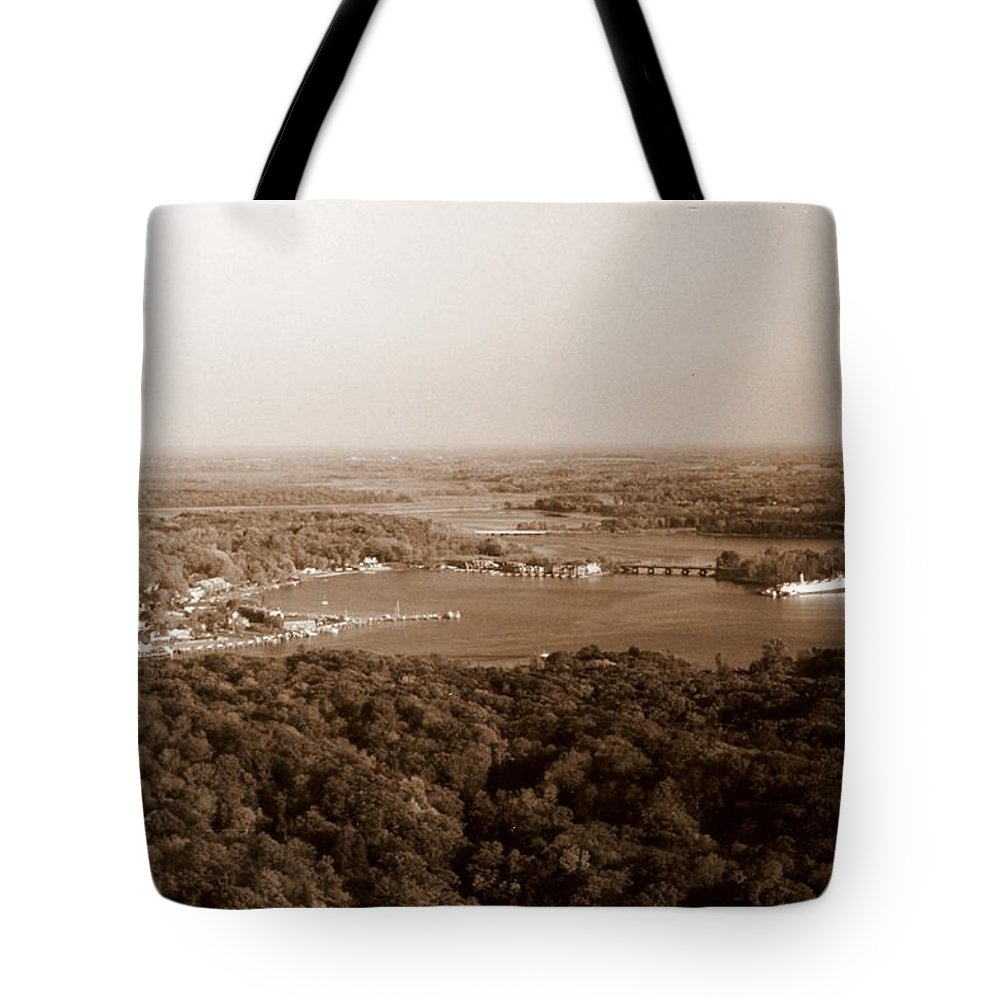 Saugatuck Tote Bag featuring the photograph Saugatuck Michigan Harbor Aerial Photograph by Michelle Calkins