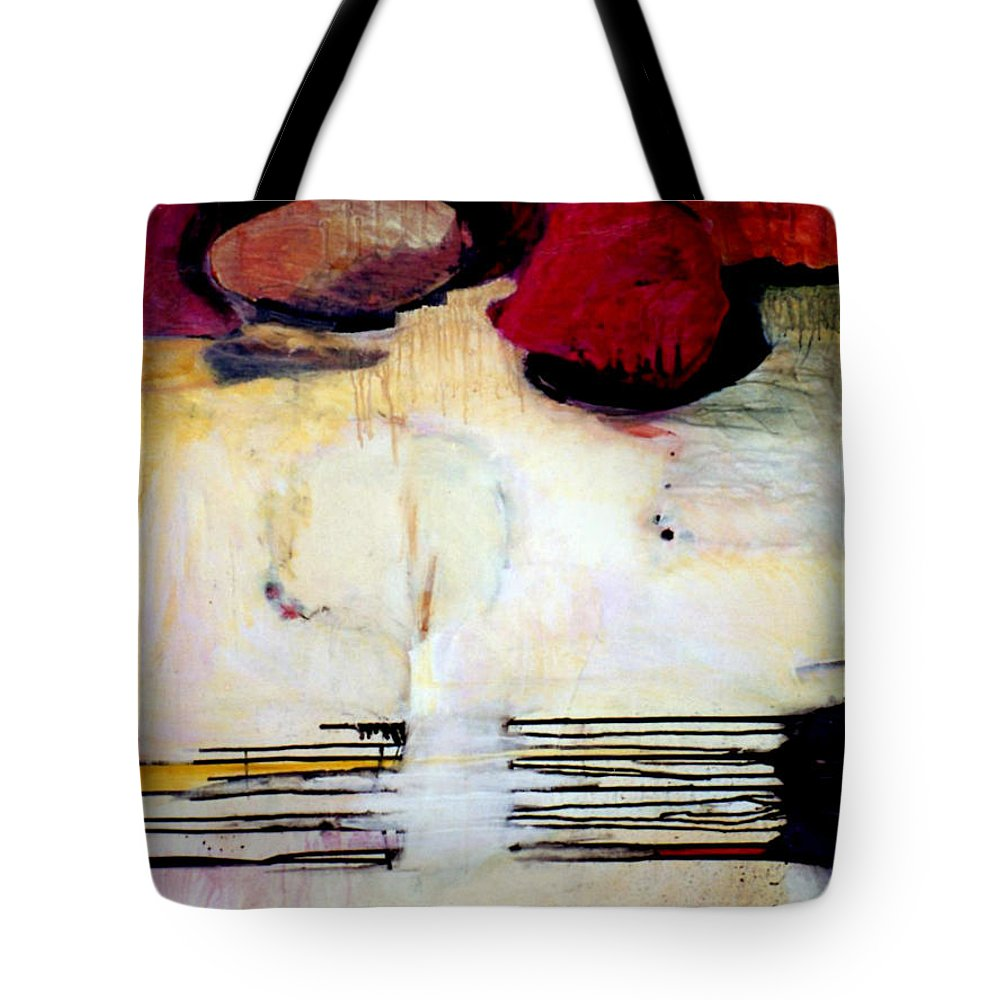 Abstract Tote Bag featuring the mixed media Sausalito Leap Of Faith by Marlene Burns