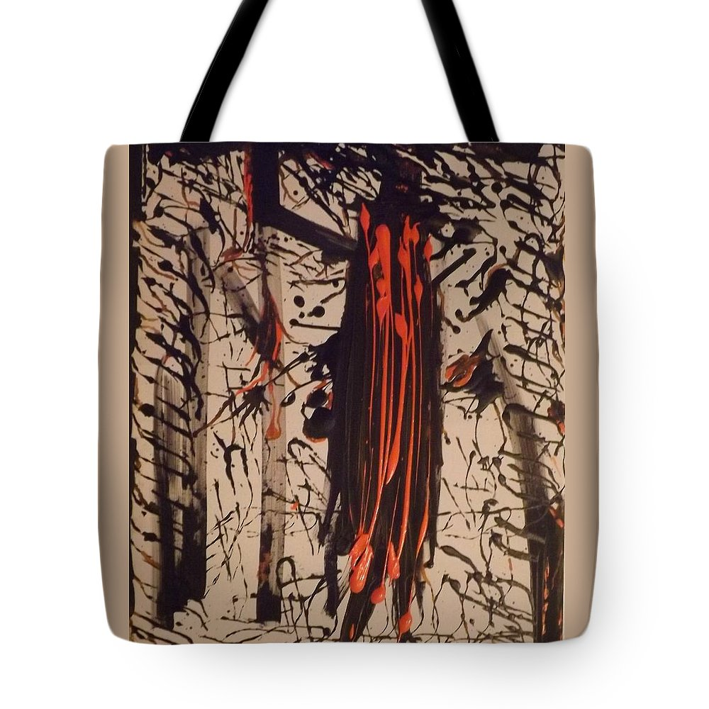 Abstract Art Tote Bag featuring the painting Savage Orange by Denise Morgan
