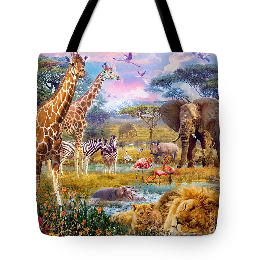 Jan Patrik Krasny Tote Bag featuring the digital art Savannah Animals by MGL Meiklejohn Graphics Licensing