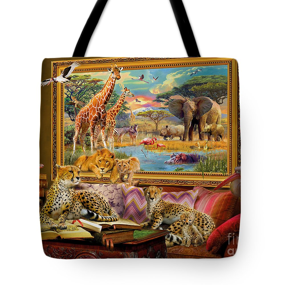 Africa Tote Bag featuring the digital art Savannah Coming To Life by MGL Meiklejohn Graphics Licensing