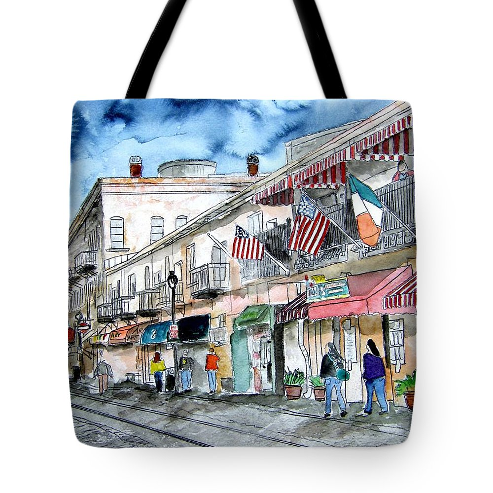 Pen And Ink Tote Bag featuring the painting Savannah Georgia River Street by Derek Mccrea