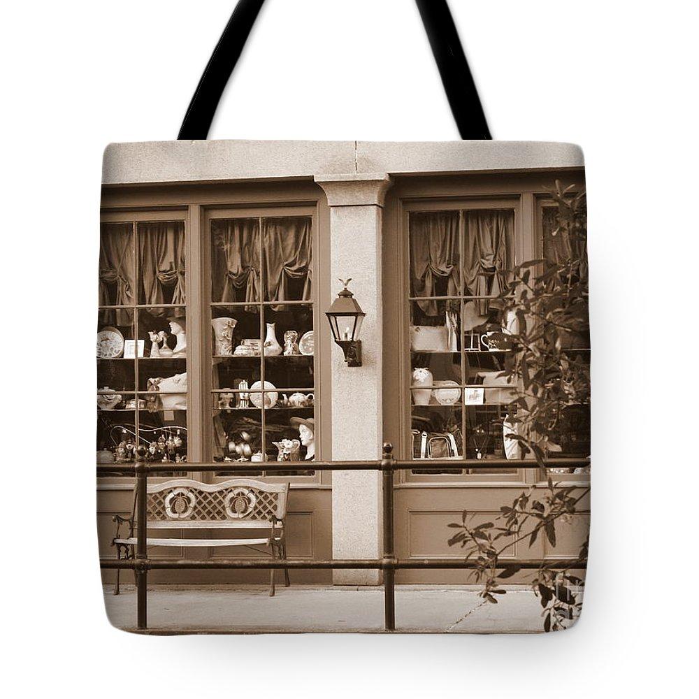 Savannah Tote Bag featuring the photograph Savannah Sepia - Antique Shop by Carol Groenen