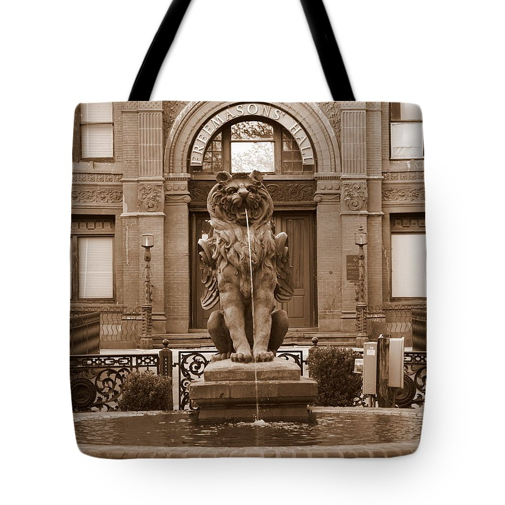 Savannah Tote Bag featuring the photograph Savannah Sepia - Cotton Exchange Building by Carol Groenen