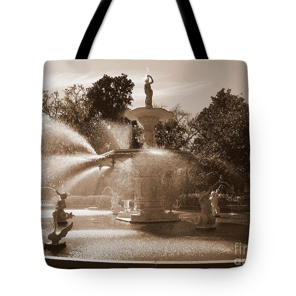 Savannah Tote Bag featuring the photograph Savannah Sepia - Forsyth Fountain by Carol Groenen