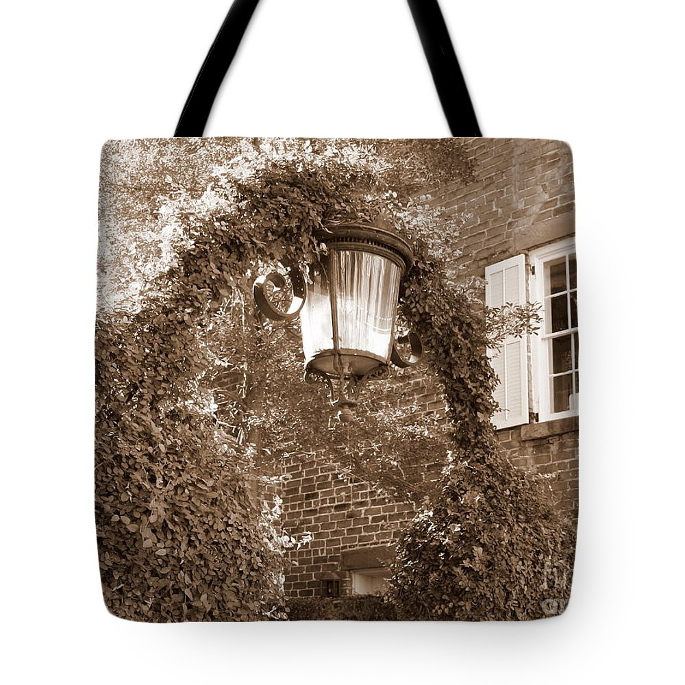Lamp Post Tote Bag featuring the photograph Savannah Sepia - Lovely Lamp by Carol Groenen