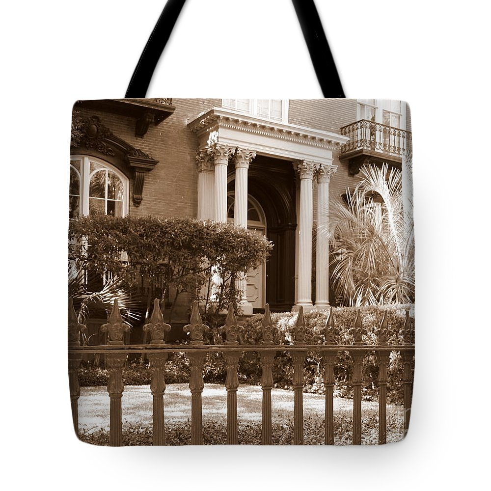 Savannah Tote Bag featuring the photograph Savannah Sepia - Mercer House by Carol Groenen