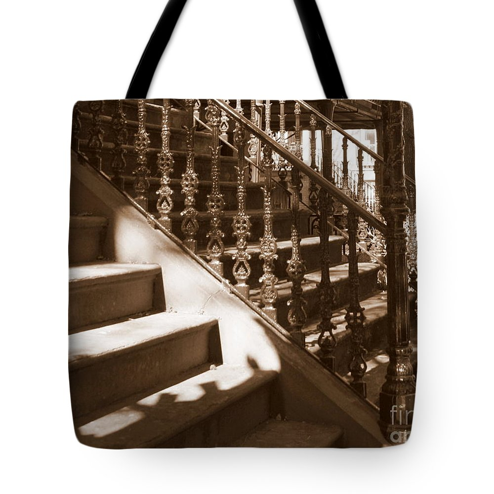Sepia Tote Bag featuring the photograph Savannah Sepia - Stairs by Carol Groenen
