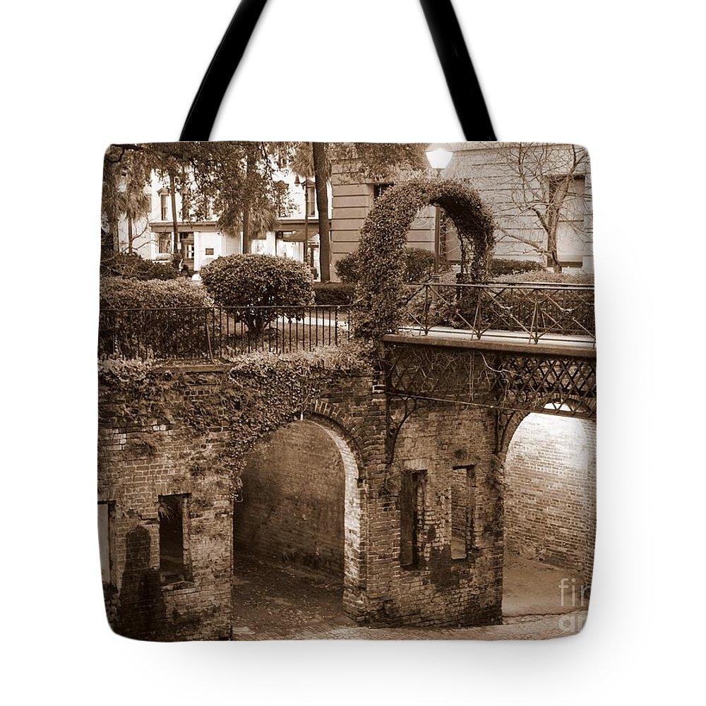 Savannah Tote Bag featuring the photograph Savannah Sepia - River Walk by Carol Groenen