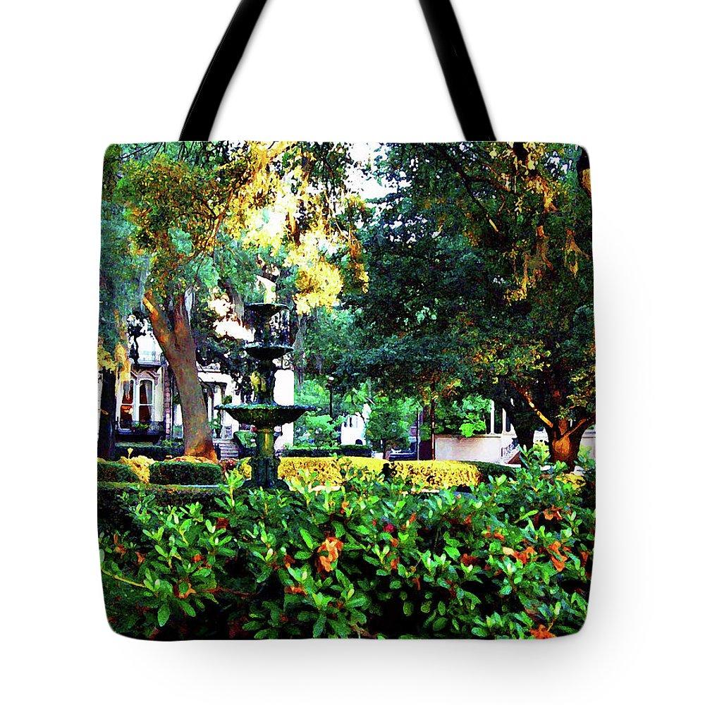 Bark Tote Bag featuring the digital art Savannah Square by Joan Minchak