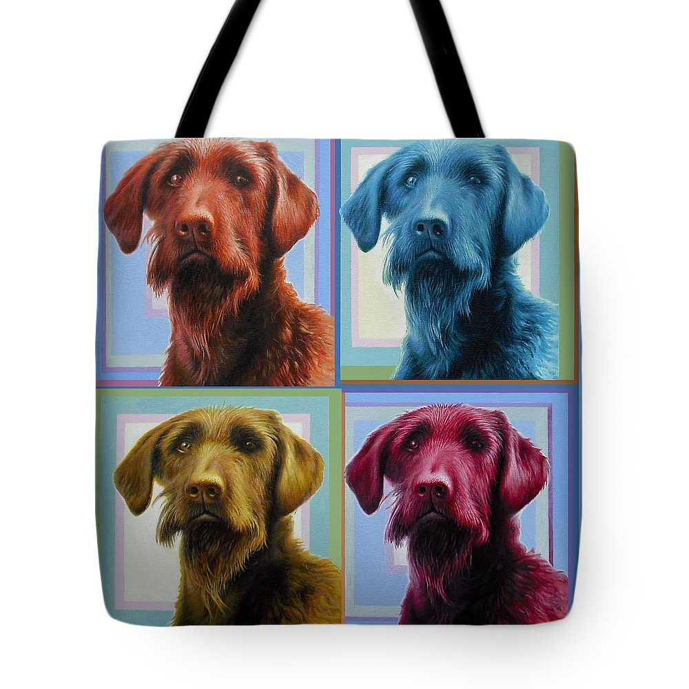 Dog Tote Bag featuring the painting Savannah The Labradoodle by Hans Droog
