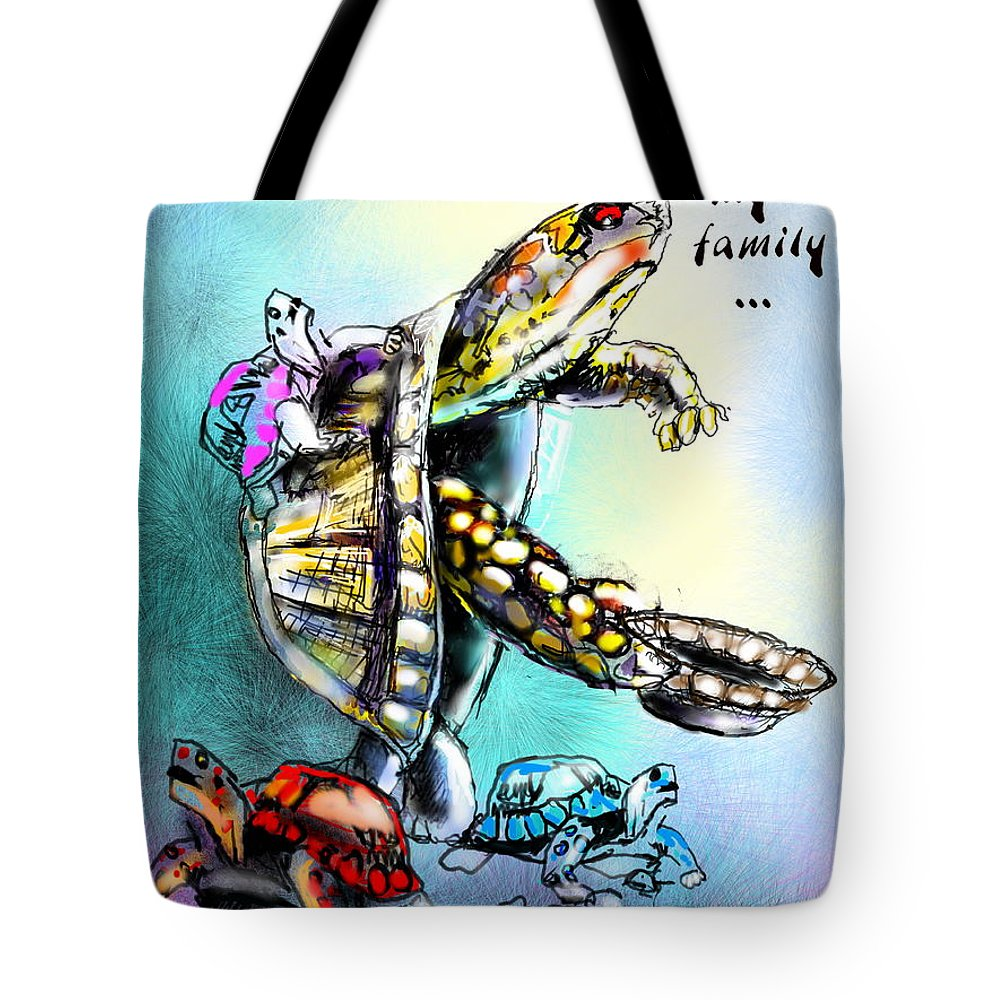 Turtle Painting Tote Bag featuring the digital art Save My Family by Miki De Goodaboom