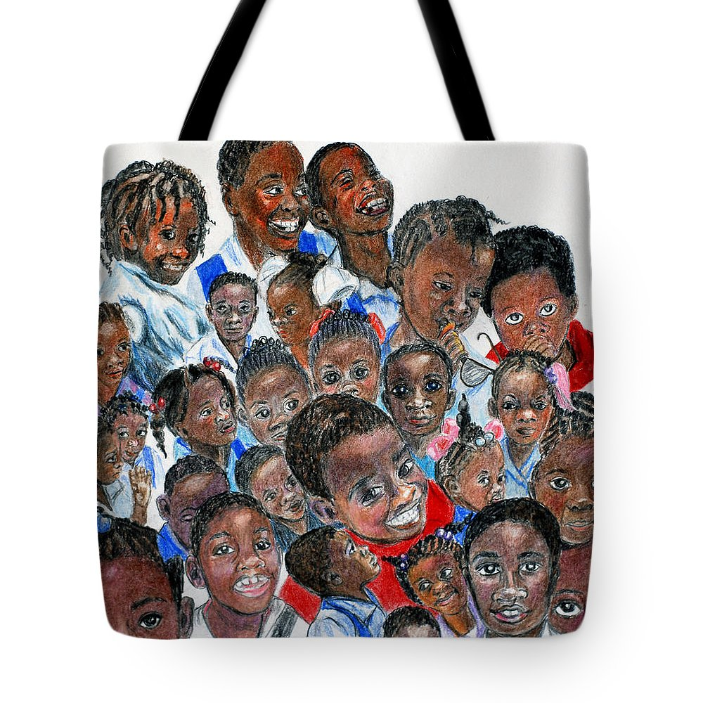 Children Tote Bag featuring the painting Save The Children by Quwatha Valentine