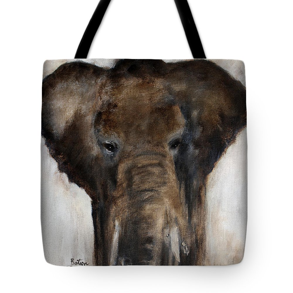 Elephant Tote Bag featuring the painting Save The Elephant by Barbie Batson