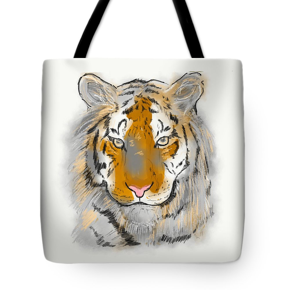 Tote Bag featuring the drawing Save The Tiger by Sara Tabassum
