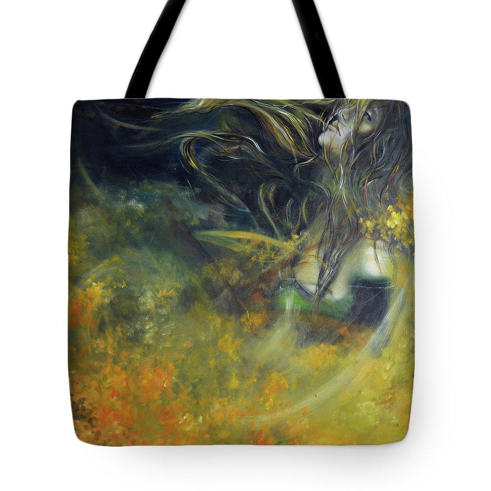 Abstract Tote Bag featuring the painting Saving My Heart, 100-100cm, 2017, Oil On Canvas by Oana Unciuleanu
