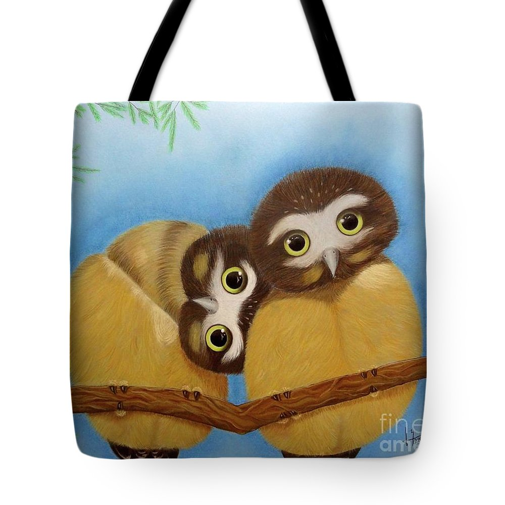 Saw-whet Owl Tote Bag featuring the painting Saw-whet Owls by Luisa Zimerman
