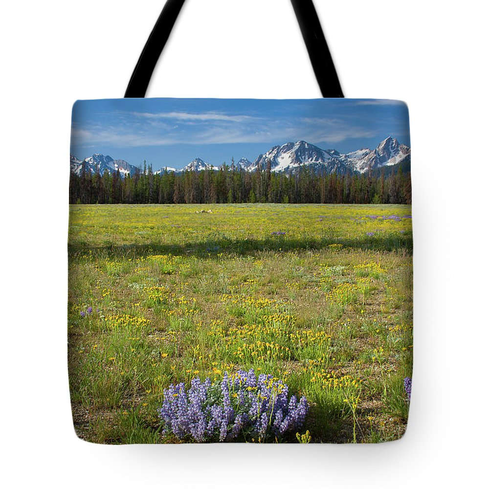 Wildflowers Tote Bag featuring the photograph Sawtooths And Wildflowers by Idaho Scenic Images Linda Lantzy