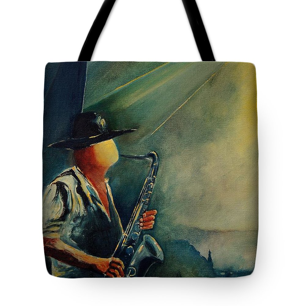 Music Tote Bag featuring the painting Sax Player by Pol Ledent