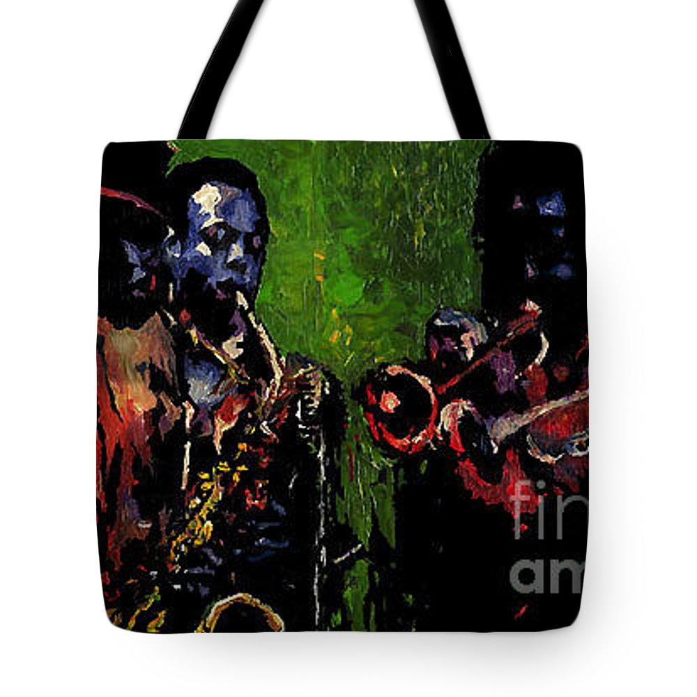 Jazz Tote Bag featuring the painting Saxophon Players. by Yuriy Shevchuk