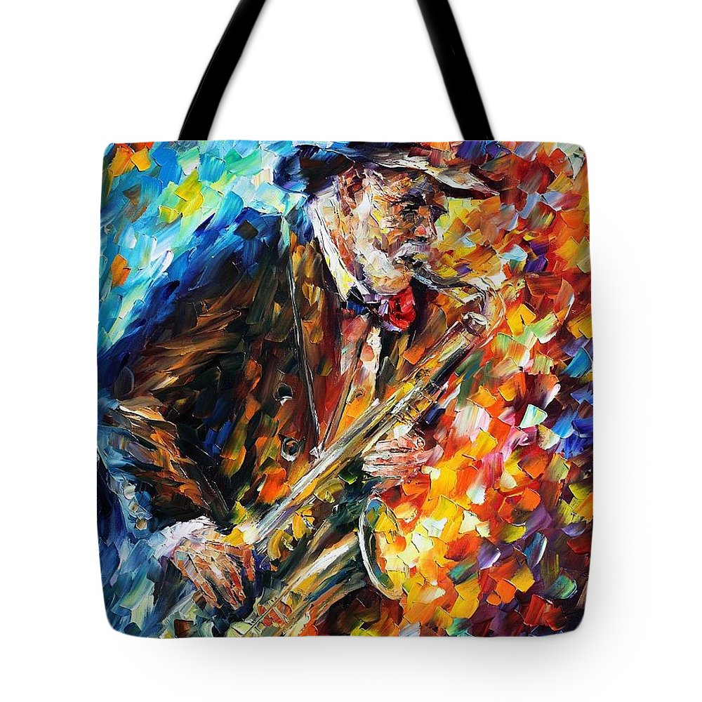 Afremov Tote Bag featuring the painting Saxophonist by Leonid Afremov