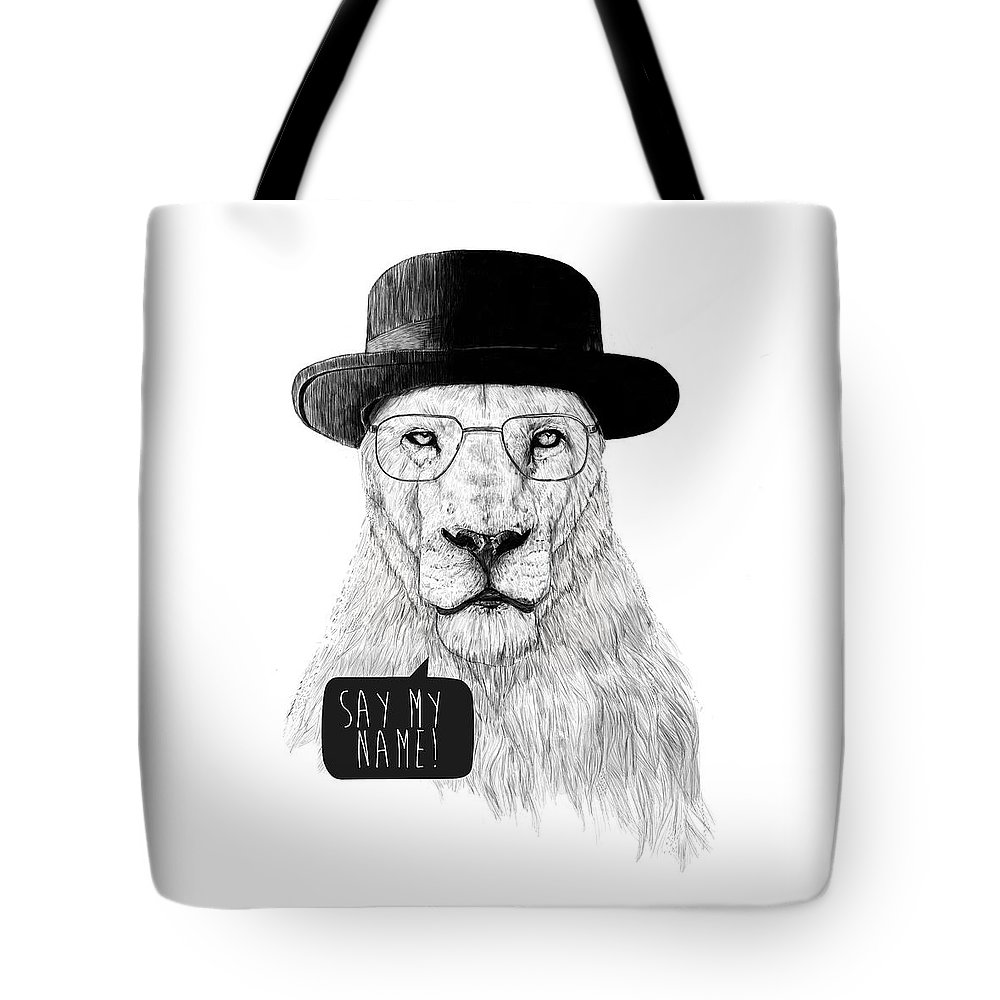 Lion Tote Bag featuring the mixed media Say my name by Balazs Solti