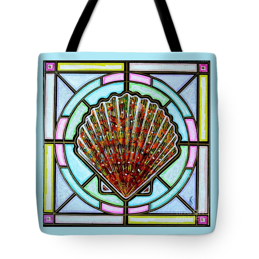 She Shells Tote Bag featuring the painting Scallop Shell 1 by Jim Harris
