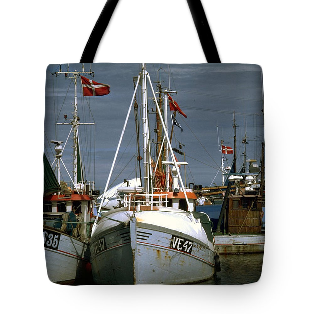 Scandinavian Tote Bag featuring the photograph Scandinavian Fisher Boats by Flavia Westerwelle