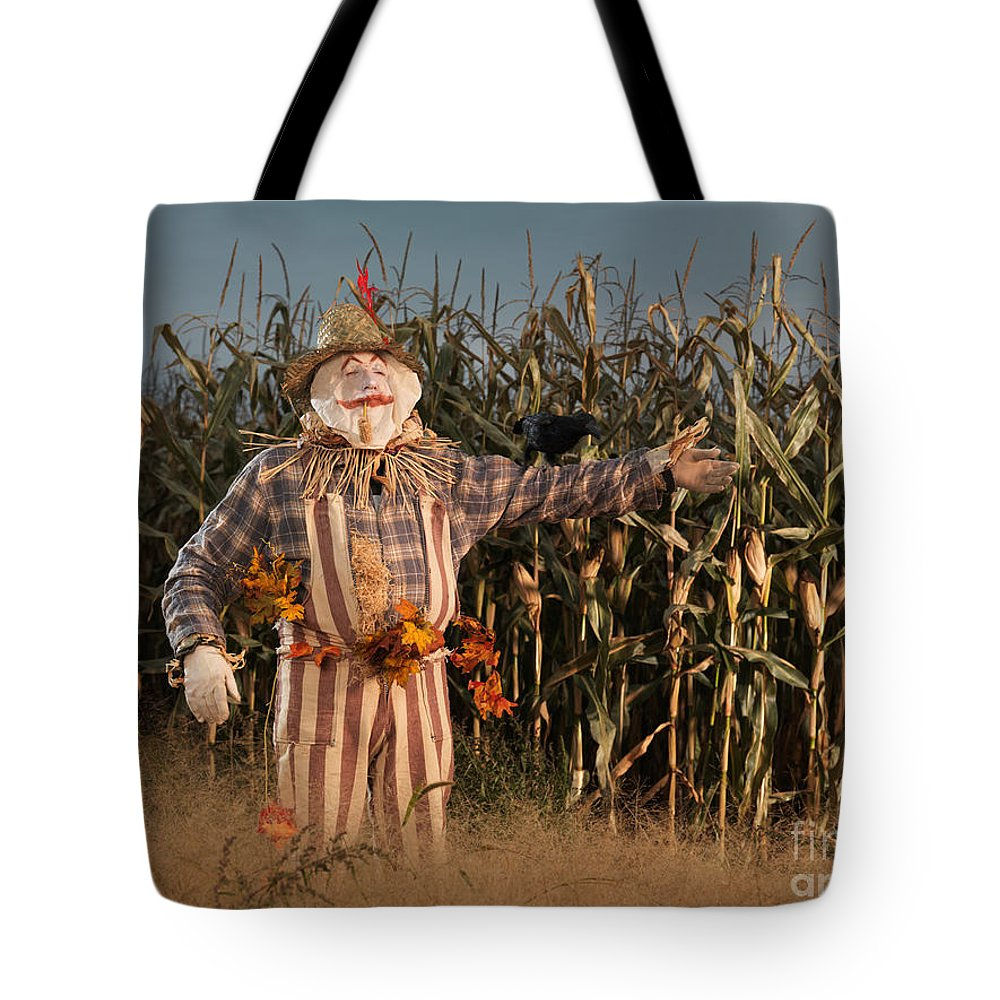 Scarecrow Tote Bag featuring the photograph Scarecrow In A Corn Field by Oleksiy Maksymenko