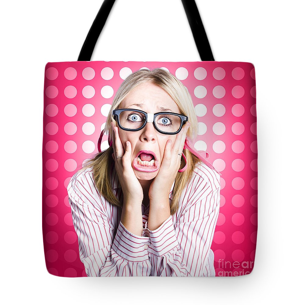 Afraid Tote Bag featuring the photograph Scared Goofy Business Person Expressing Fear by Jorgo Photography - Wall Art Gallery