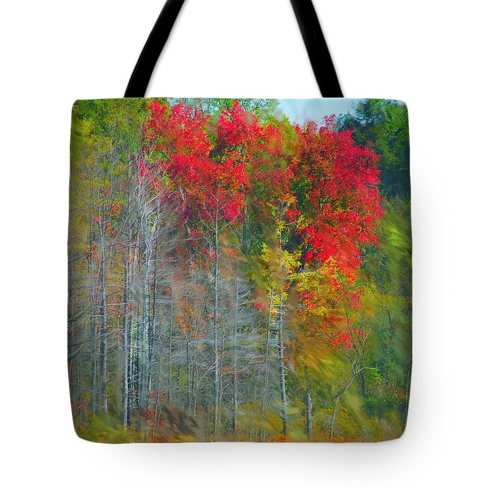 Landscape Tote Bag featuring the digital art Scarlet Autumn Burst by David Lane