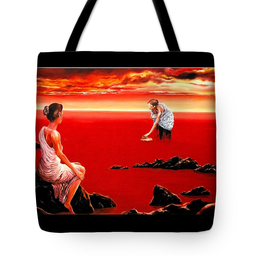 Red Tote Bag featuring the painting Scarlet Evening In December by Mark Cawood