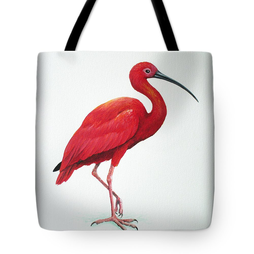 Scarlet Ibis Tote Bag featuring the painting Scarlet Ibis by Christopher Cox