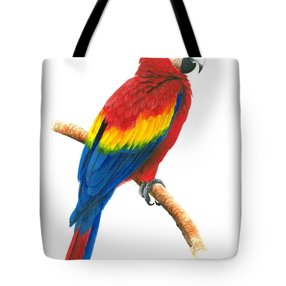 Chris Cox Tote Bag featuring the painting Scarlet Macaw by Christopher Cox