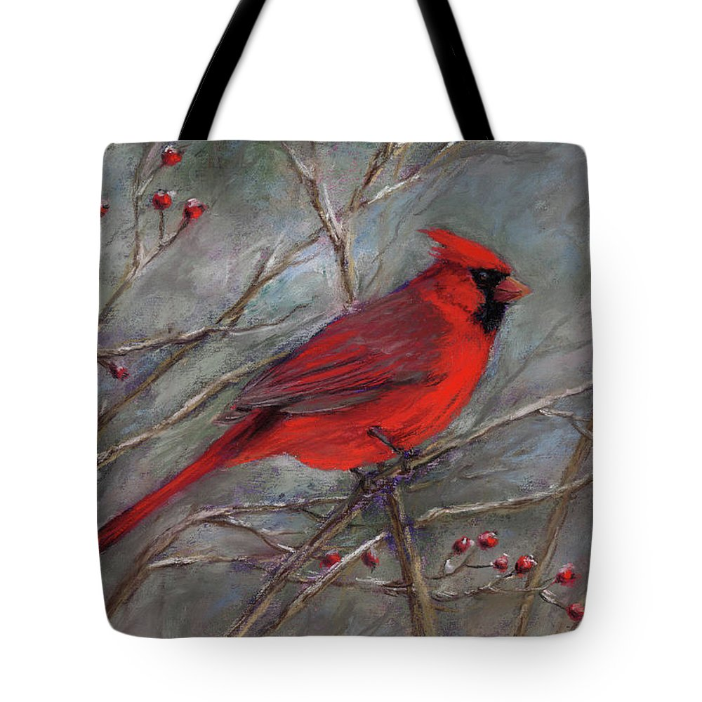 Cardinal Tote Bag featuring the pastel Scarlet Sentinel by Vikki Bouffard
