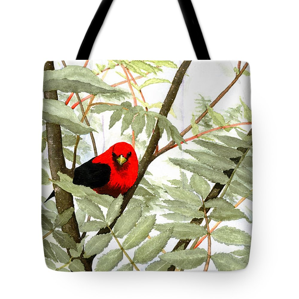 Bird Tote Bag featuring the painting Scarlet Tanager by Mary Tuomi